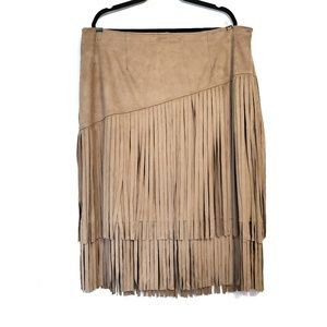 Cato | Tan Faux Suede Fringe Skirt 20W